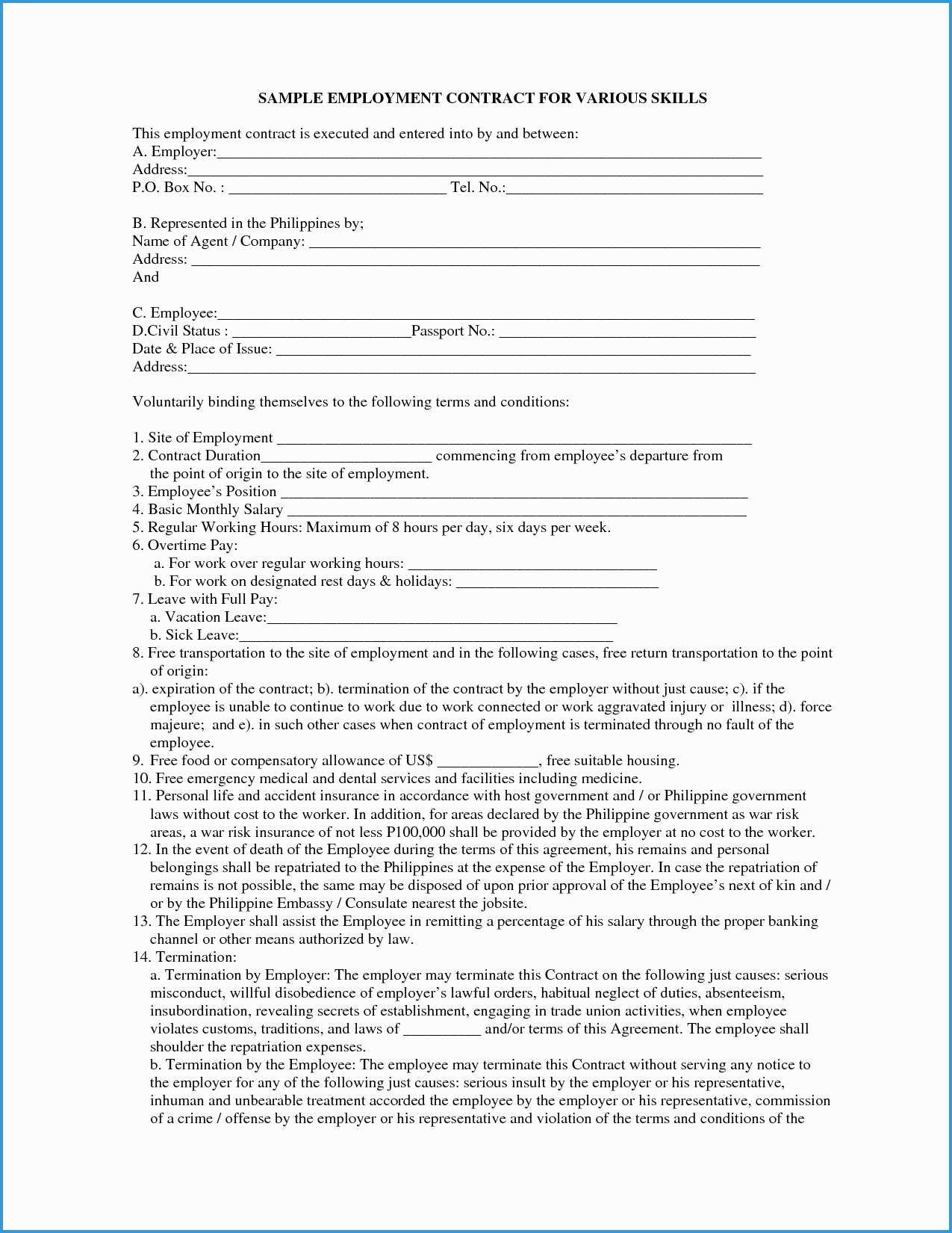Casual Employment Contract Template Philippines