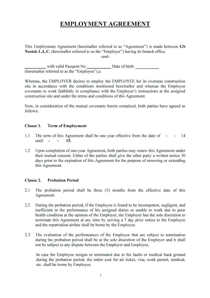 Casual Worker Employment Contract Template