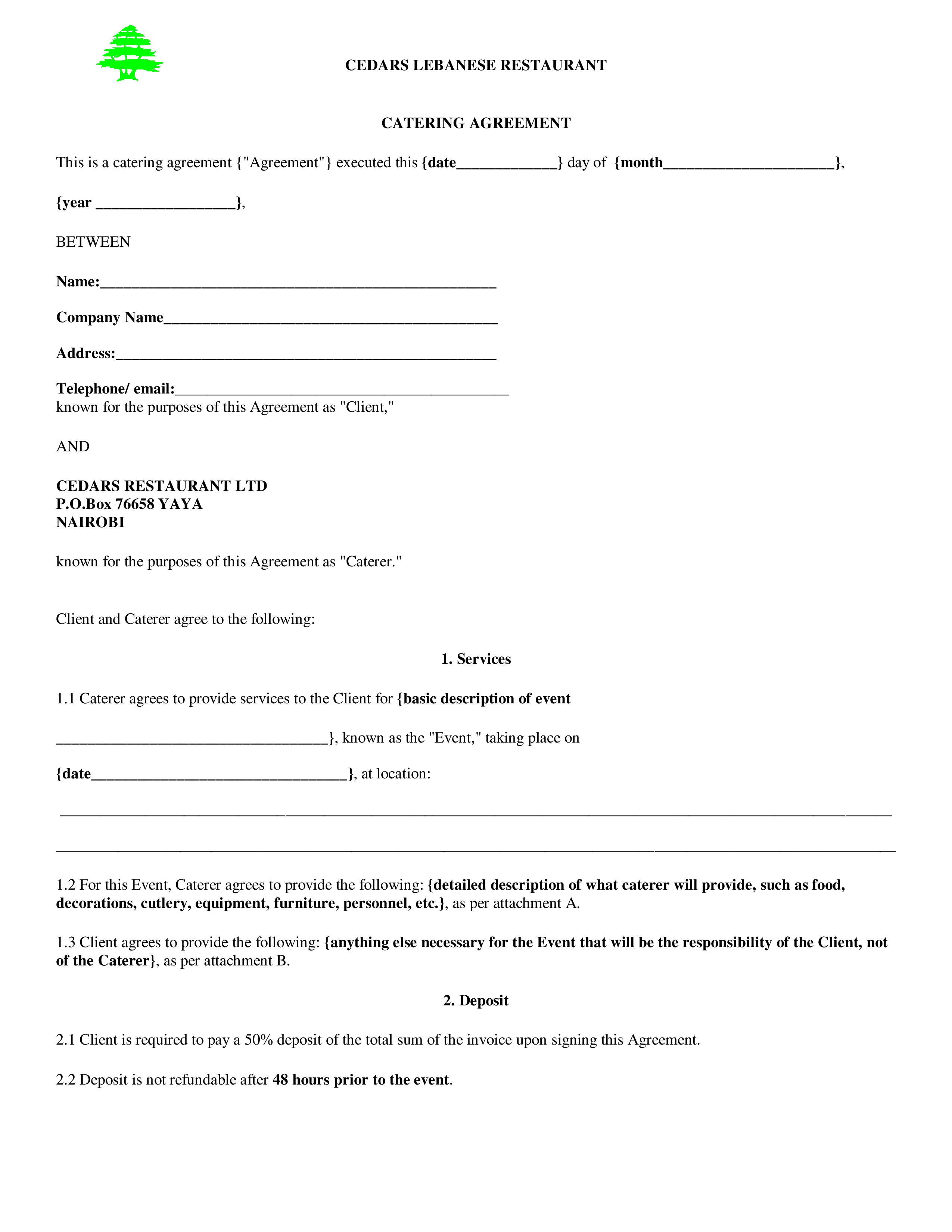 Catering Agreement Templates
