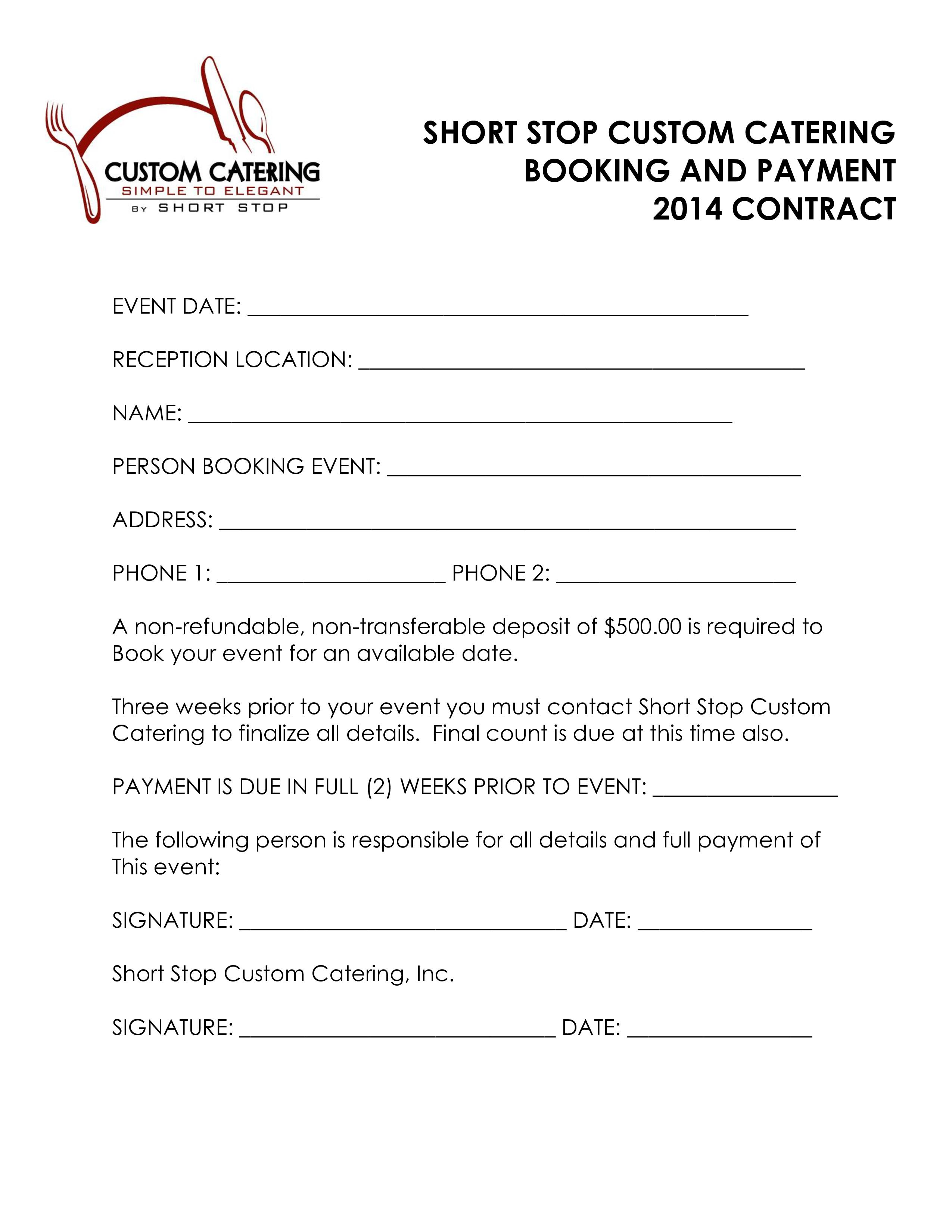 Catering Contract Form