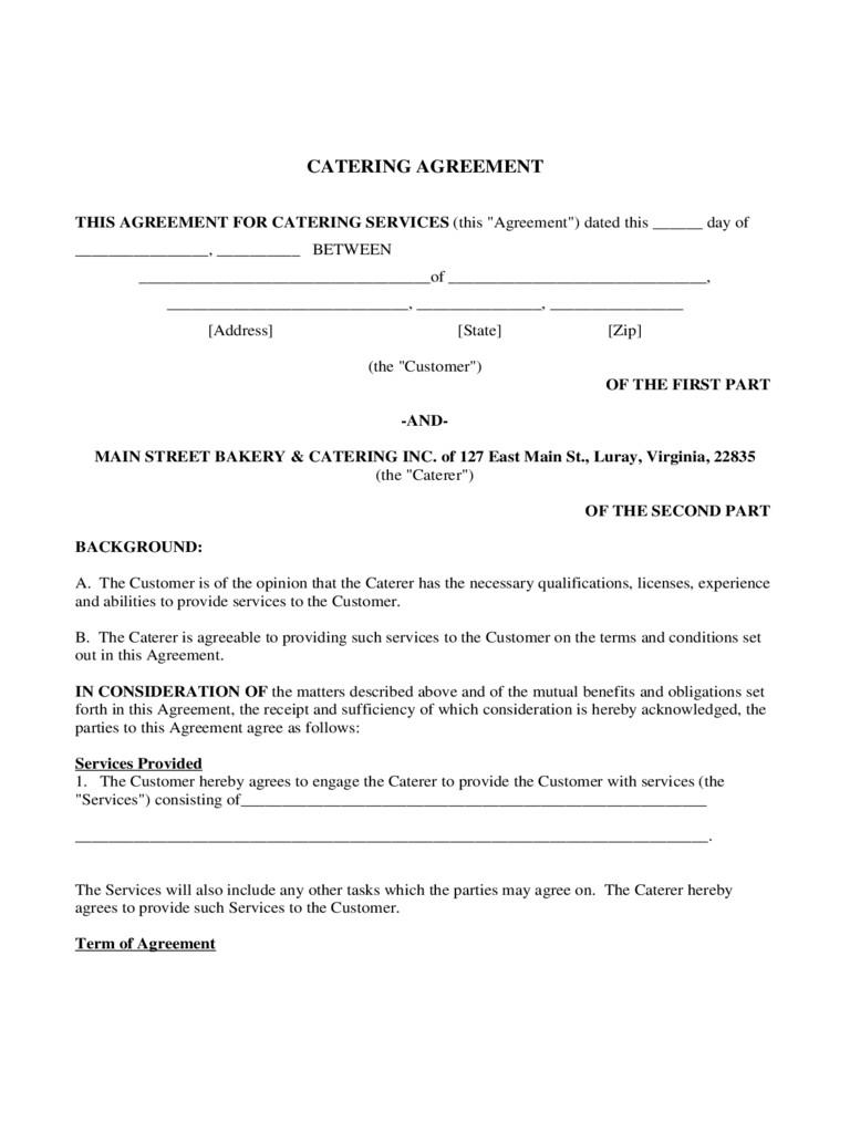 Catering Contract Template Australia