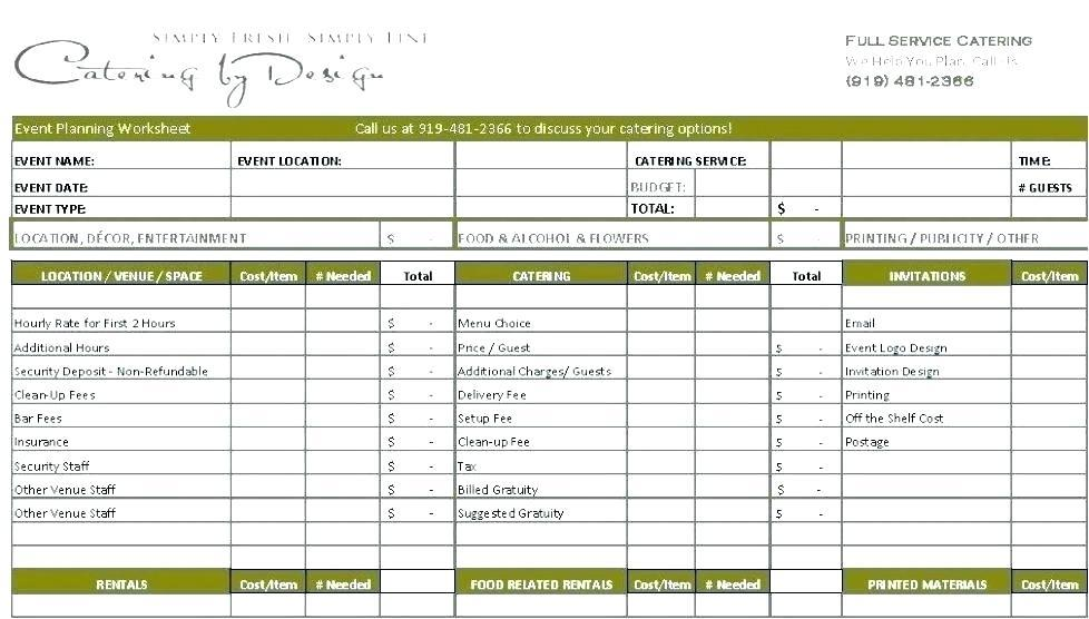 Catering Cost Spreadsheet Template