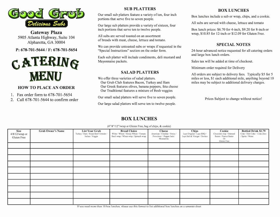 Catering Order Form Template Word
