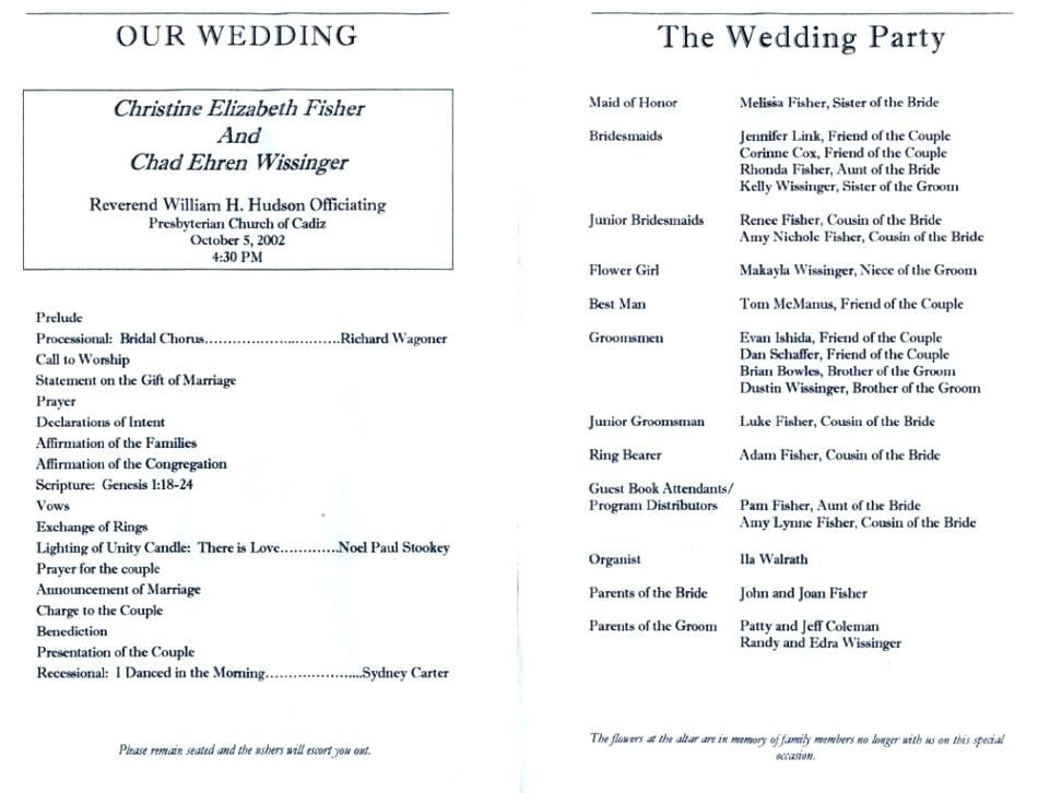 Catholic Church Wedding Program Layout