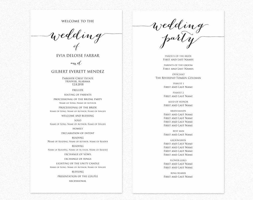 Catholic Church Wedding Program Template Free