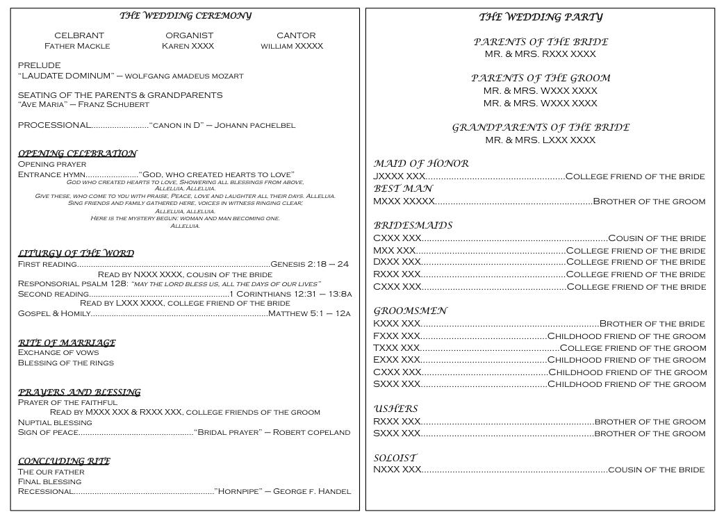 Catholic Non Mass Wedding Program Template
