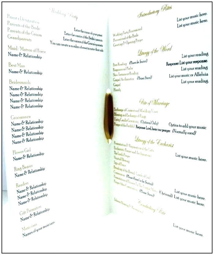 Catholic Wedding Booklet Template Australia