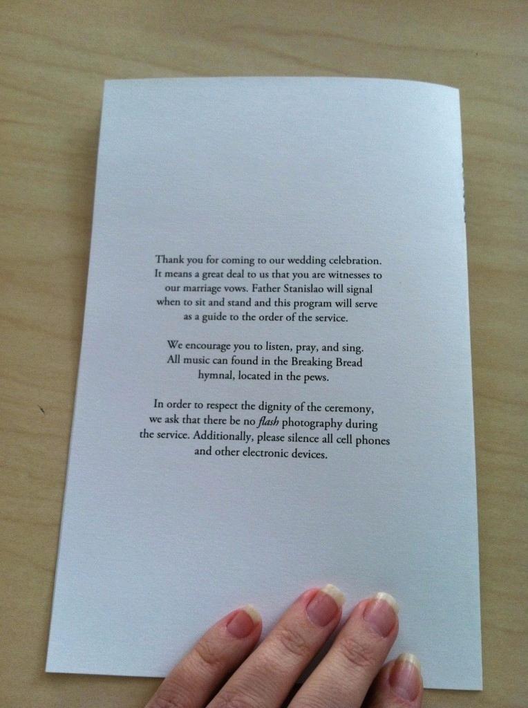 Catholic Wedding Mass Booklet Template 2016