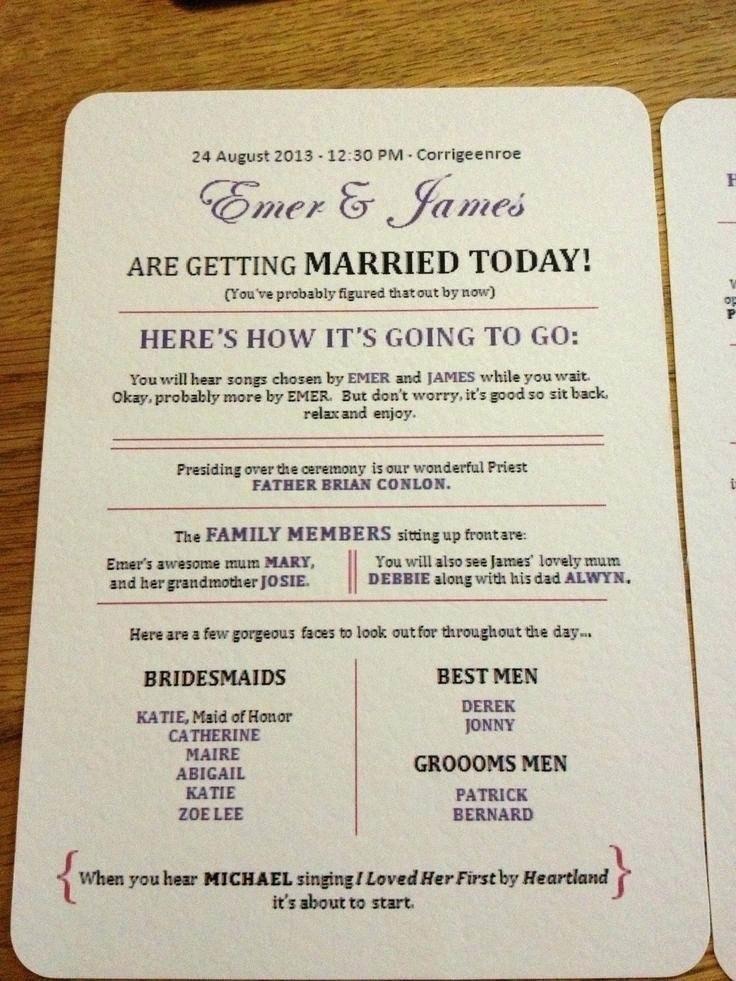 Catholic Wedding Mass Booklet Template Australia