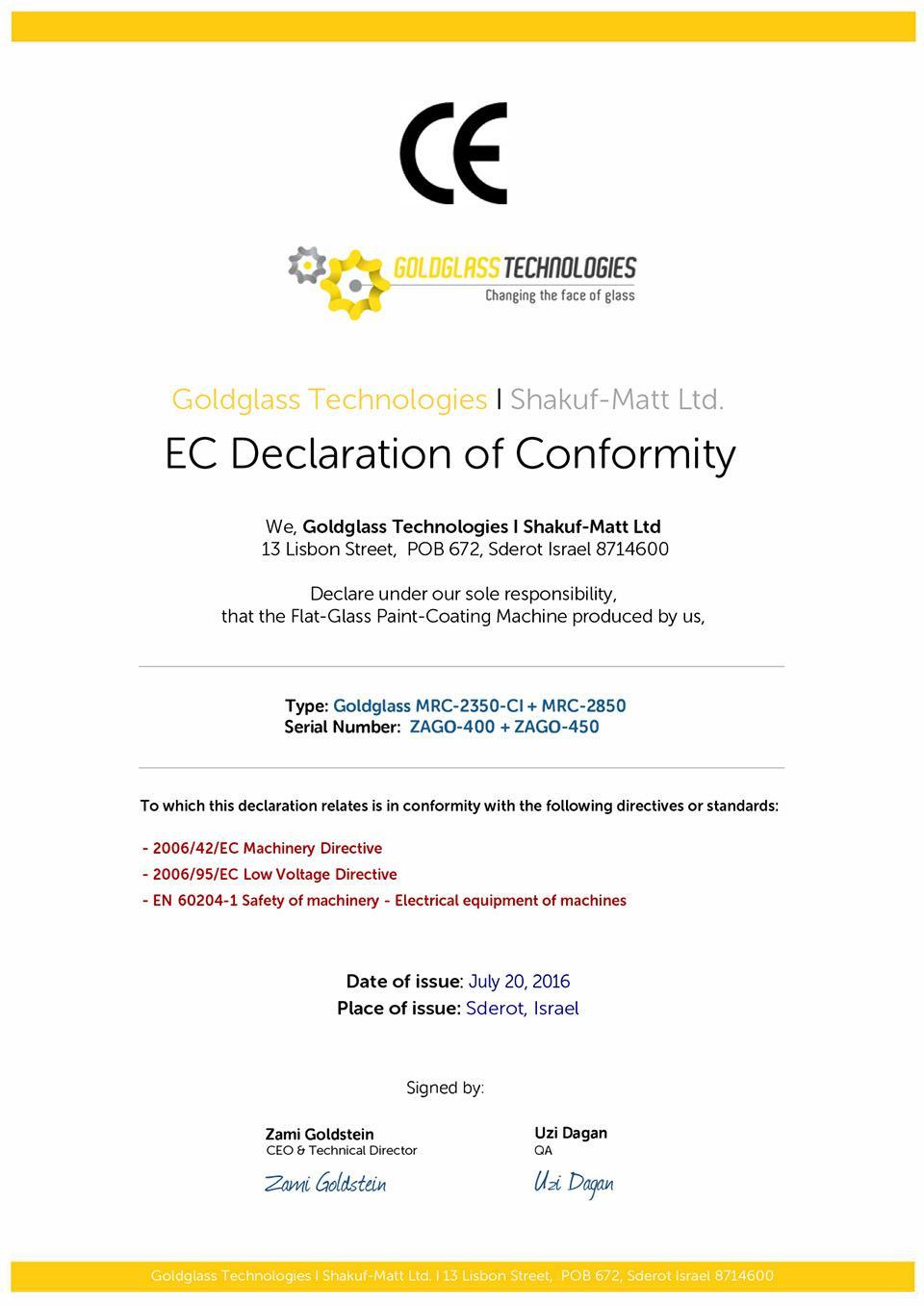 Ce Declaration Of Conformity Form