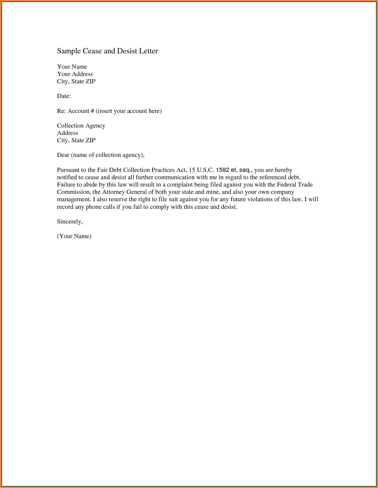 Cease And Desist Letter Slander Template