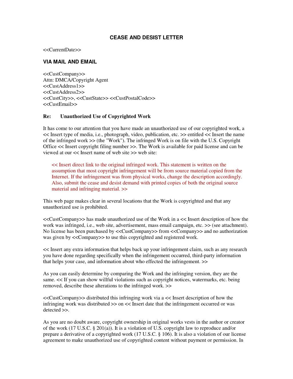 Cease And Desist Letter Template Canada