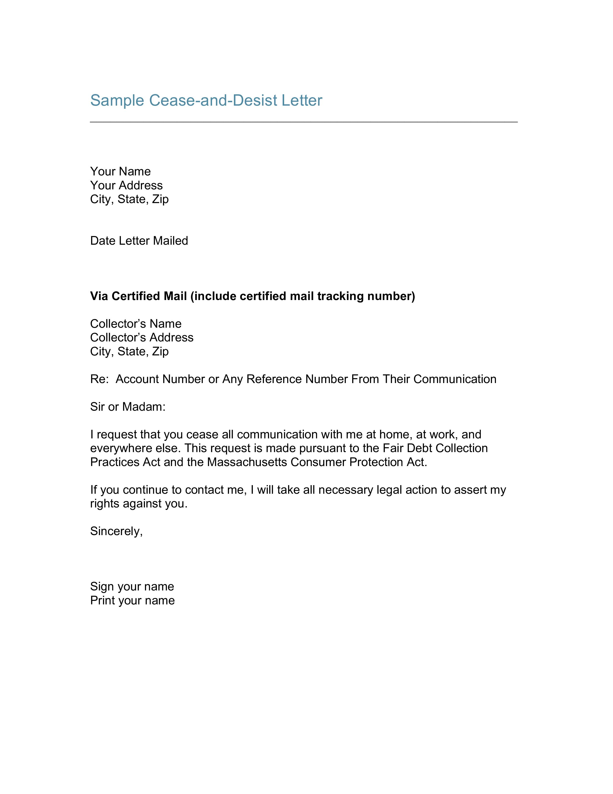 Cease And Desist Letter Template Free