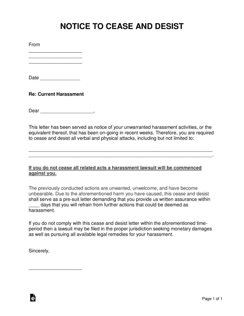 Cease And Desist Letter Template Word