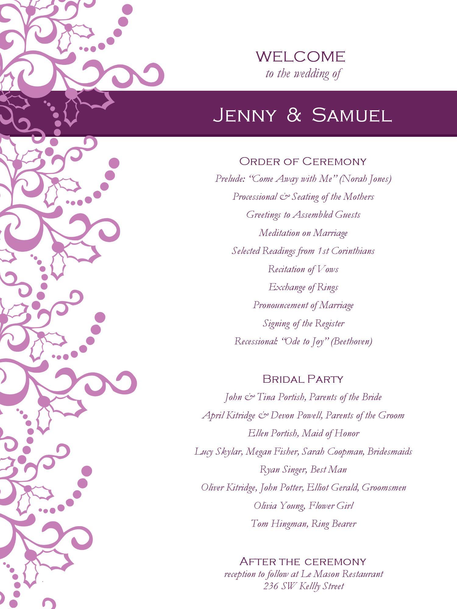 Ceremony Program Templates