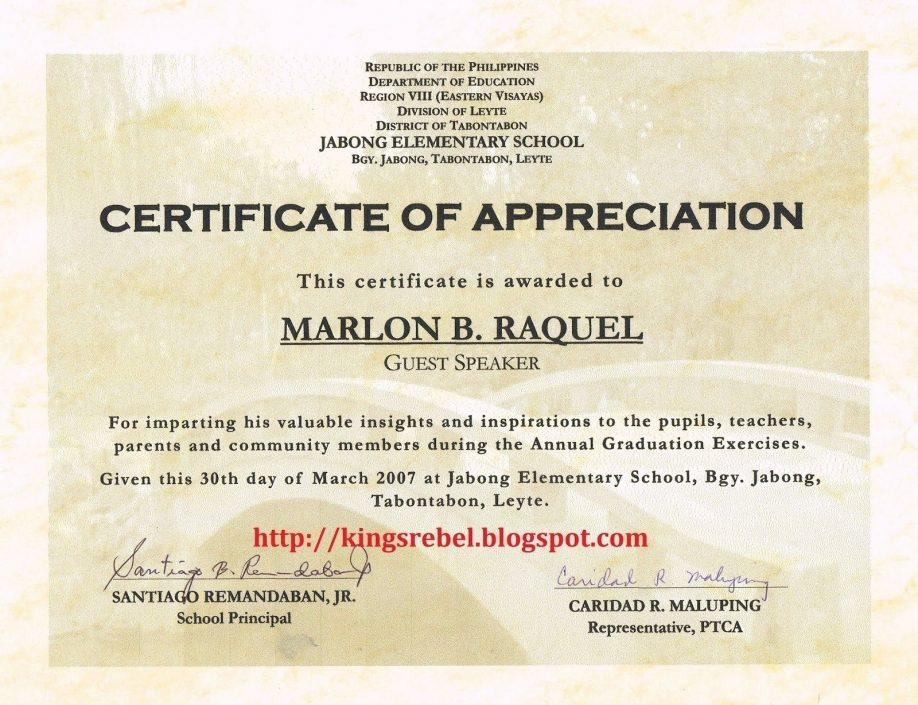 Certificate Of Appreciation Templates Doc