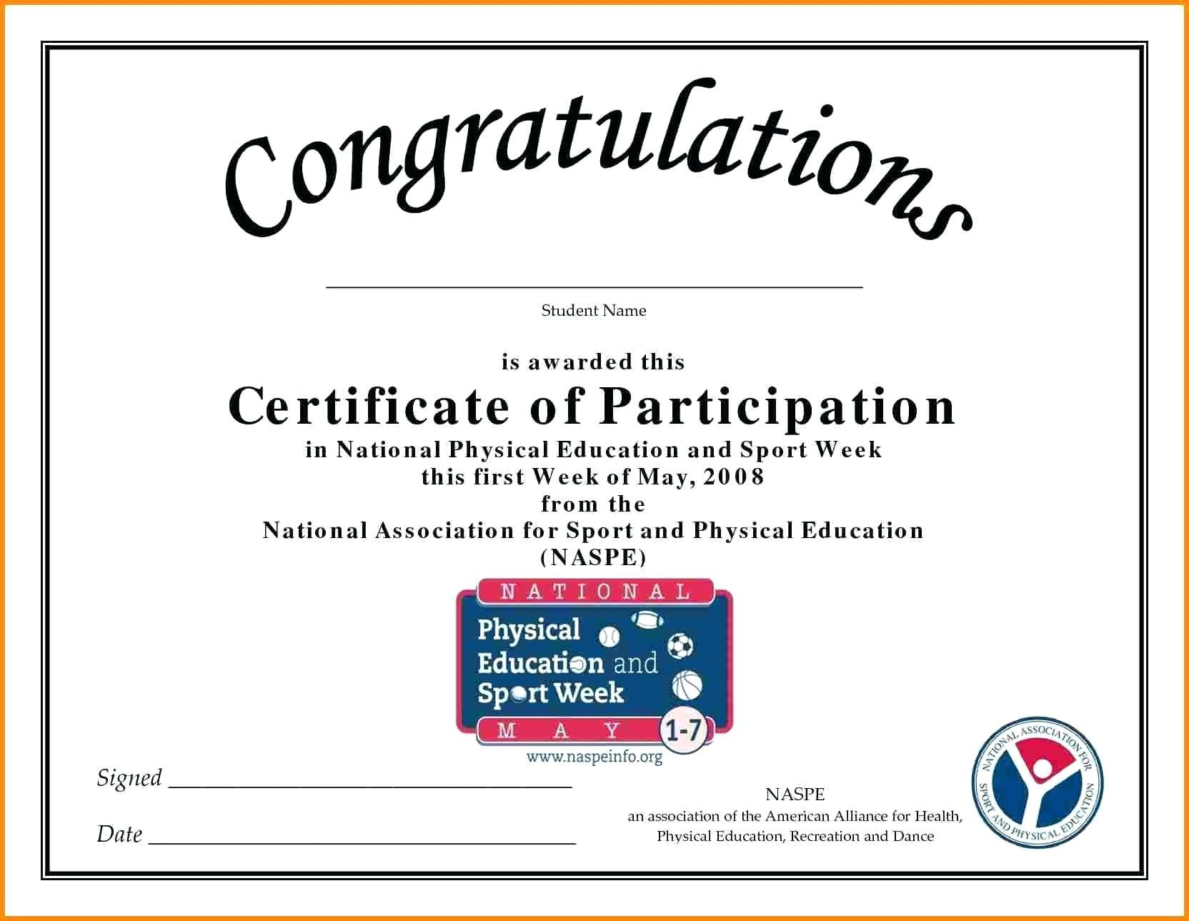 Certificate Of Participation Template Editable Free
