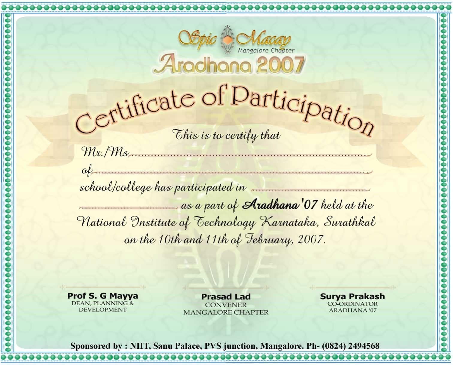 Certificate Of Participation Template Pdf