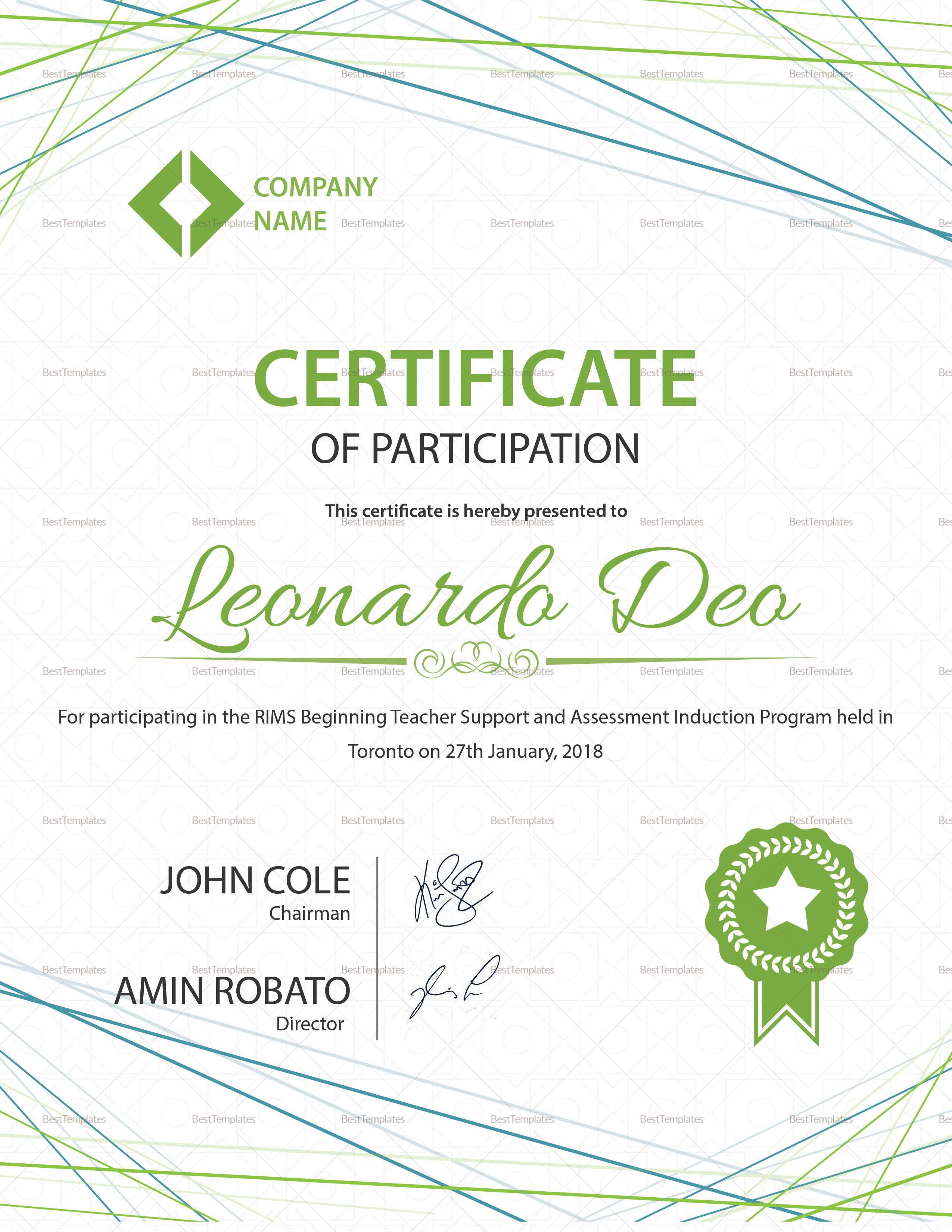 Certificate Of Participation Template Psd