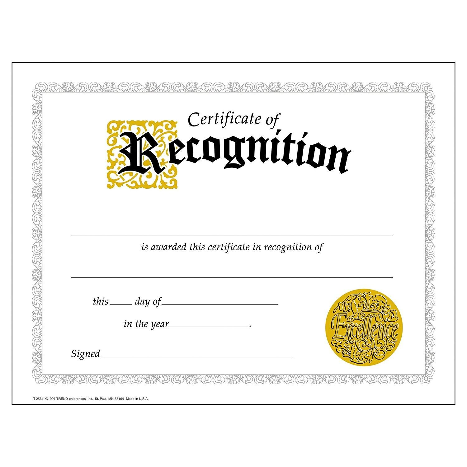 Certificate Of Recognition Templates