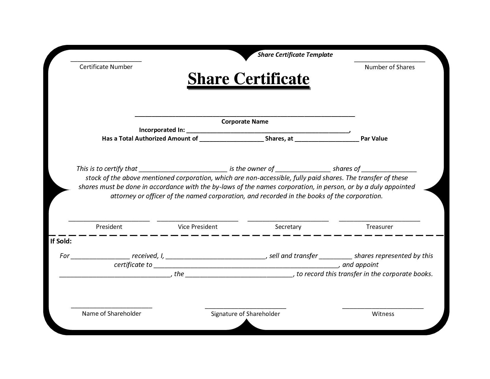 Certificate Of Shares Template