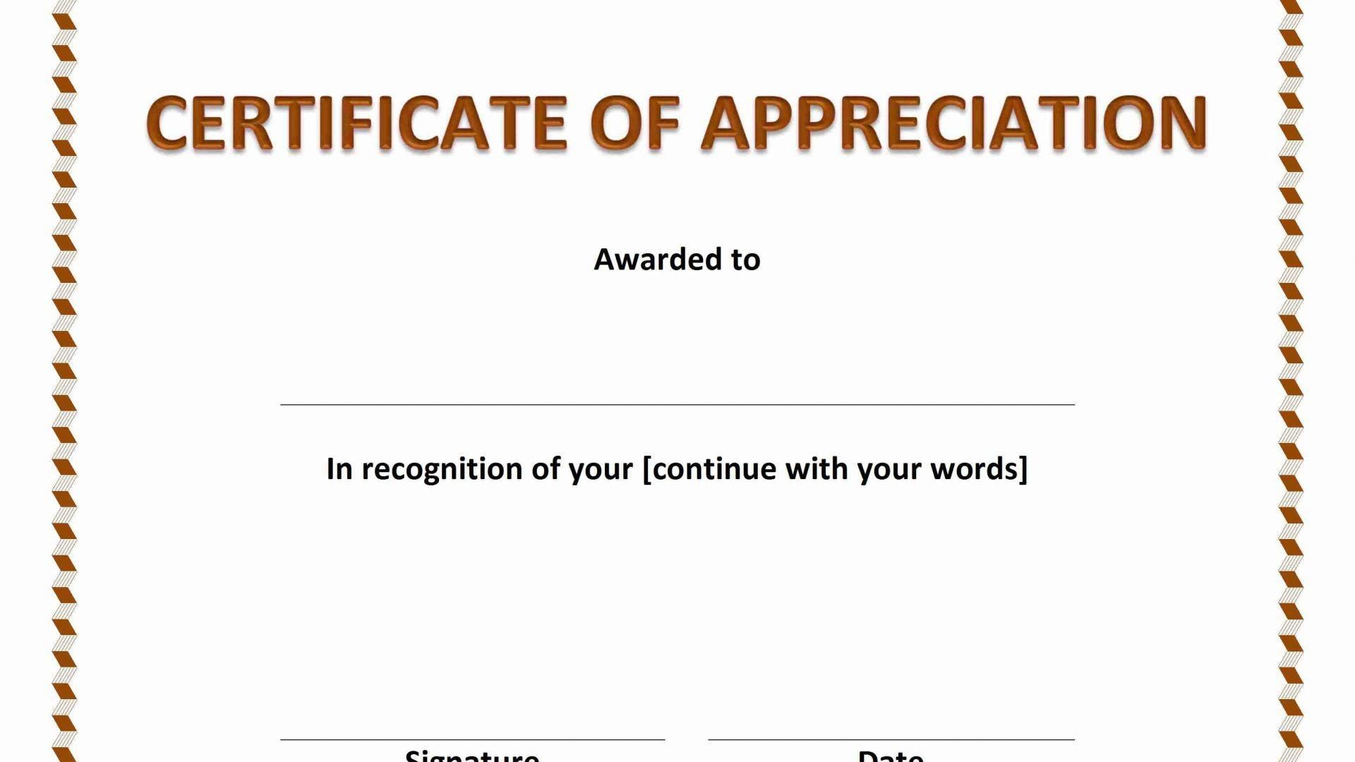 Certificates Of Appreciation Templates Microsoft
