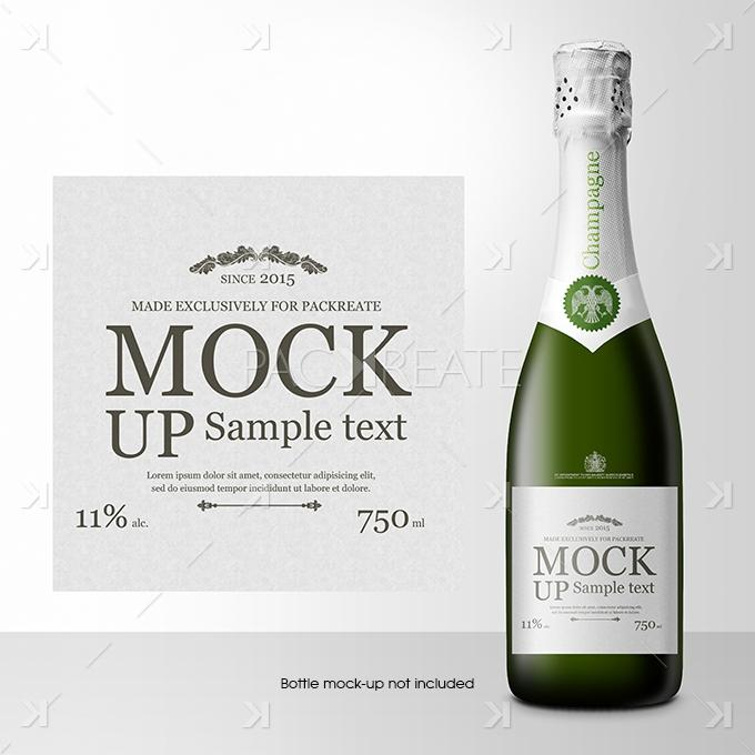 Champagne Bottle Label Template Psd