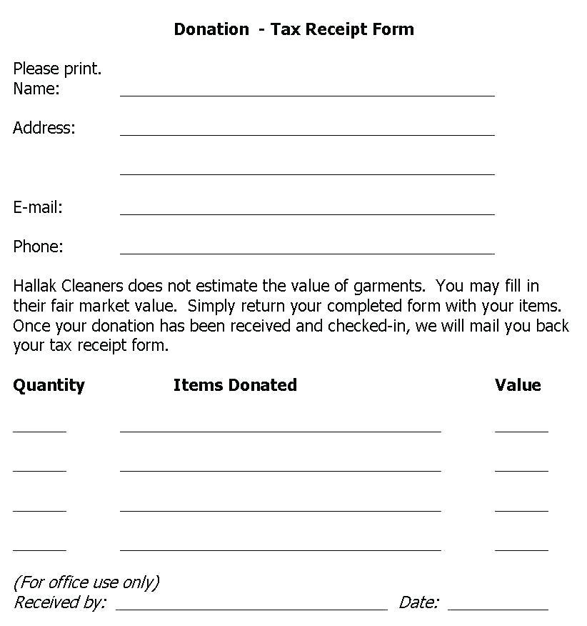Charitable Contribution Receipt Example