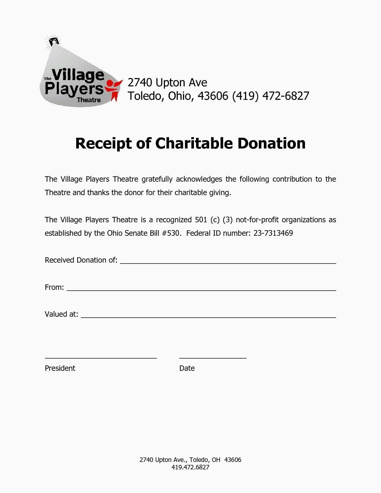 Charitable Contribution Receipt Form