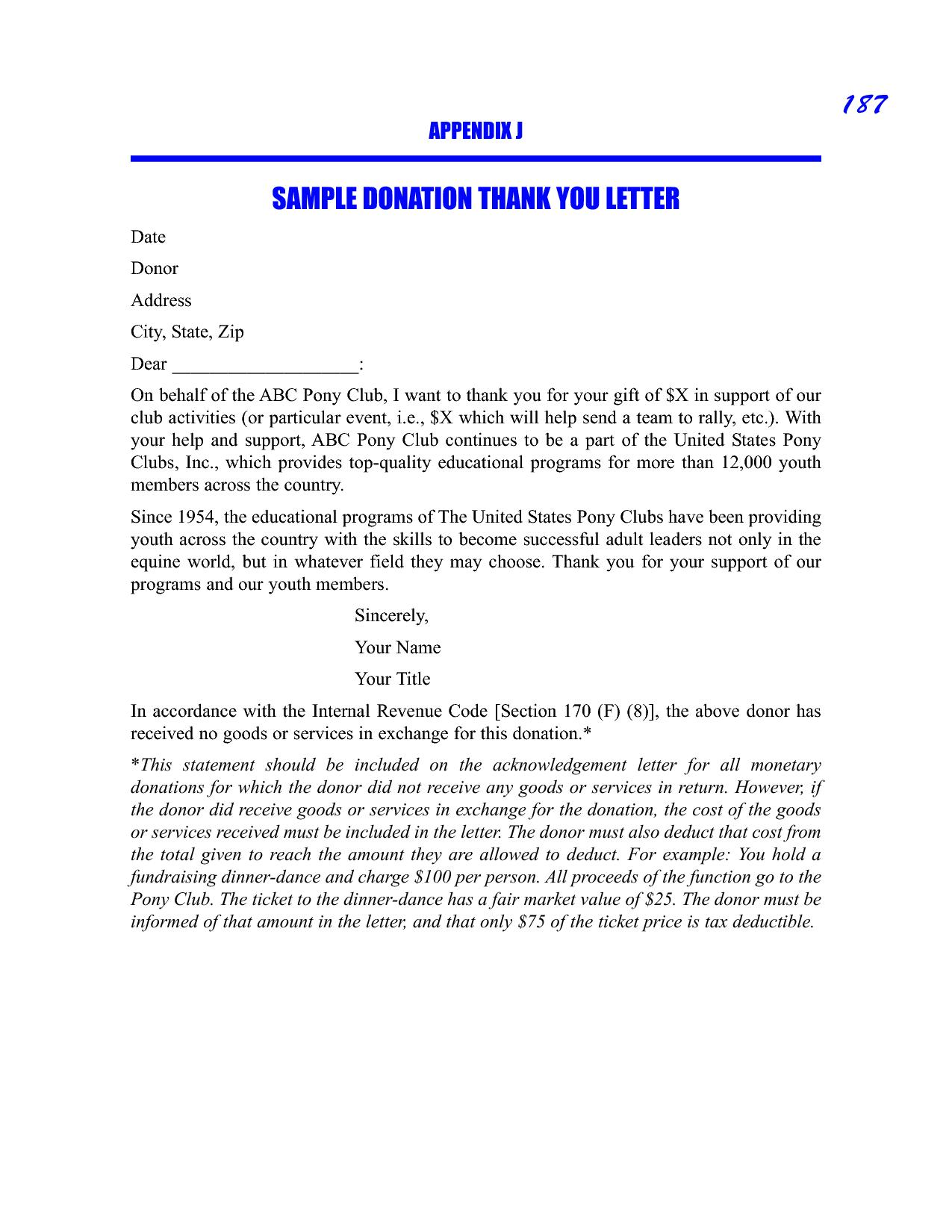 Charitable Donation Tax Letter Template