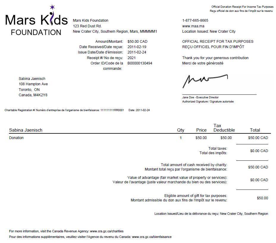 Charitable Tax Receipt Template