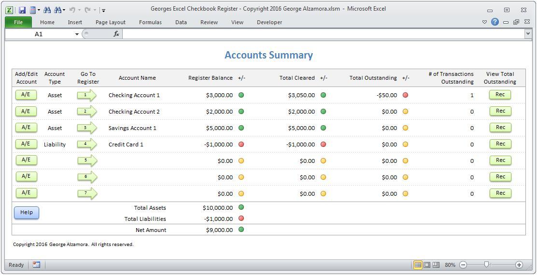 Checkbook Spreadsheet Template Excel