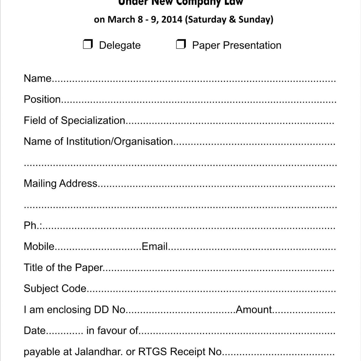 Cheer Camp Registration Form Template