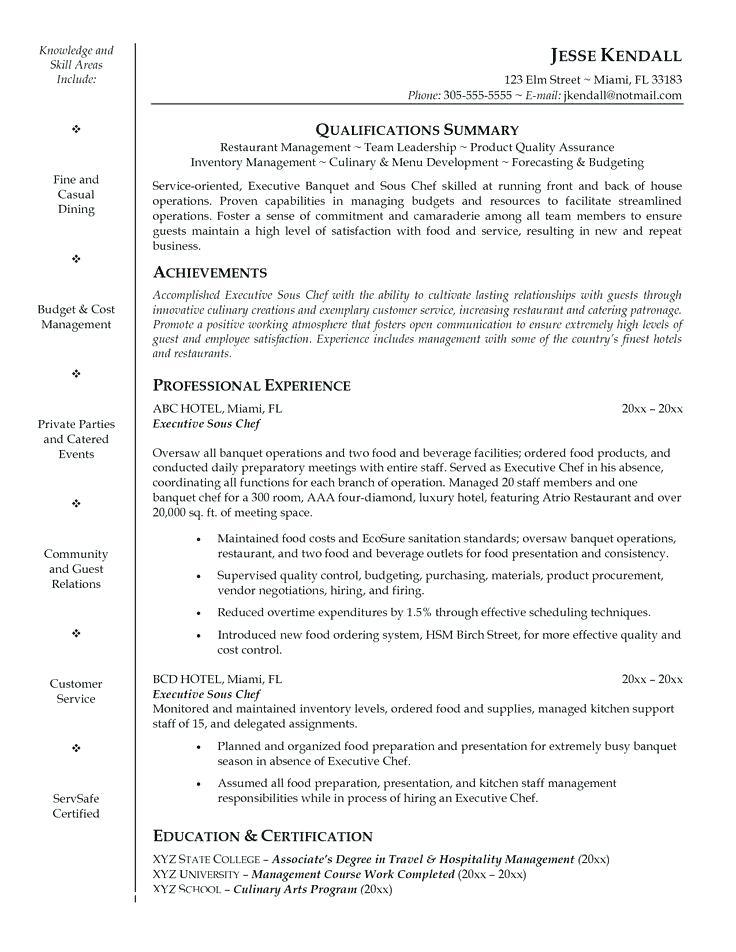 Chef Cv Template Doc