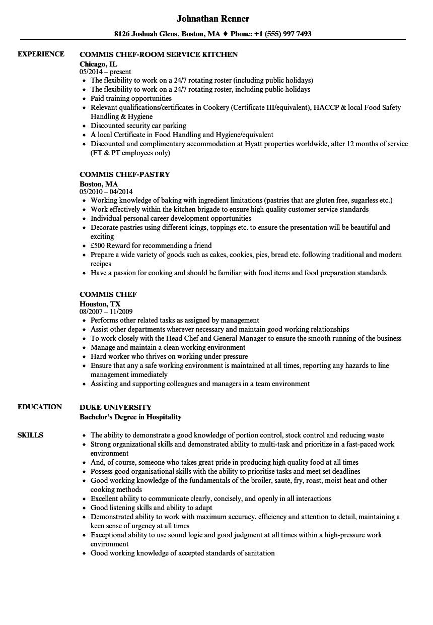 Chef Cv Template Nz