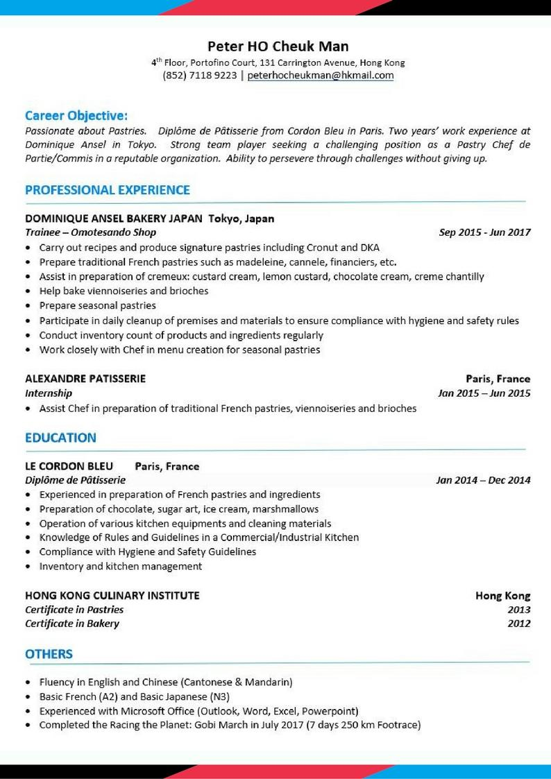 Chef Cv Template Uk