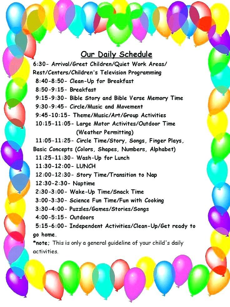 Child Care Schedule Template