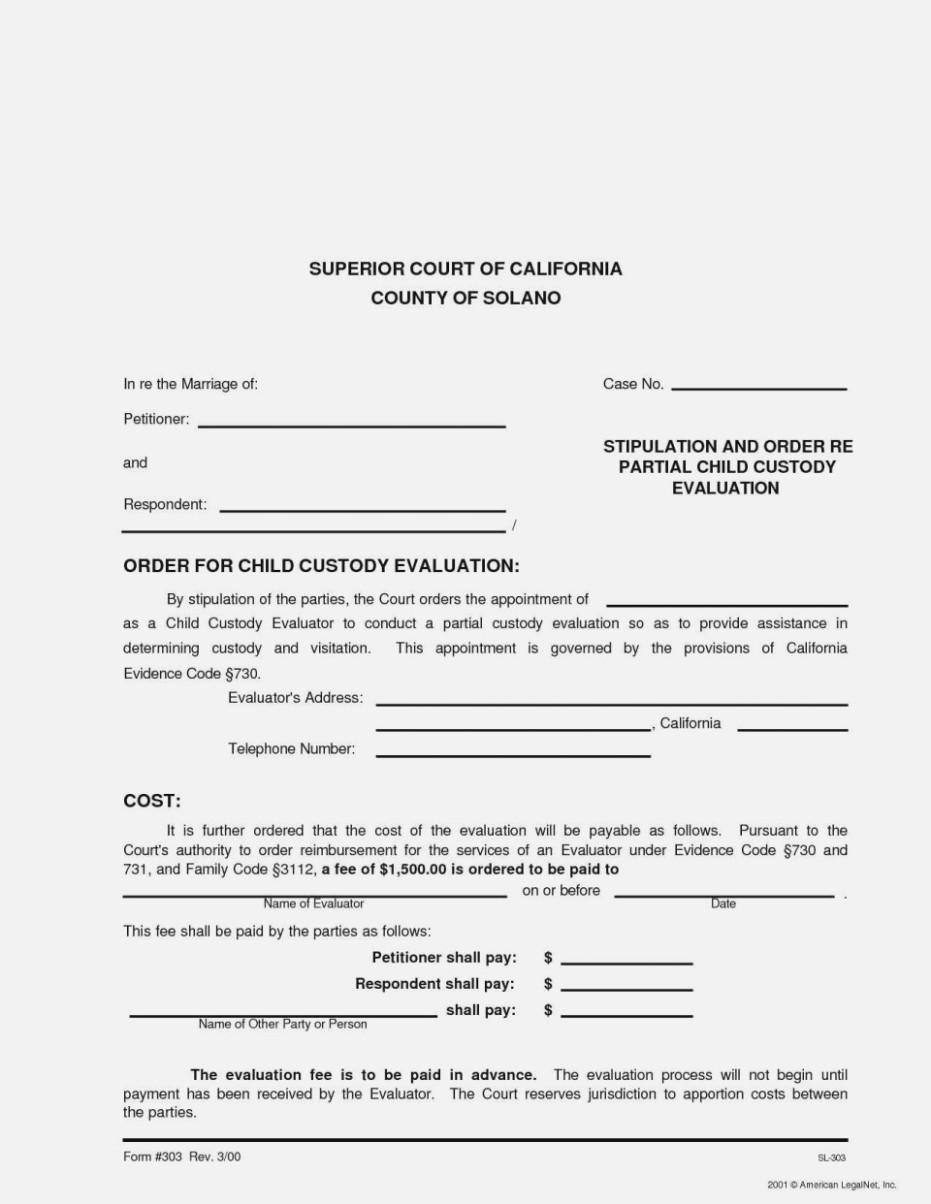 Child Custody Agreement Template California