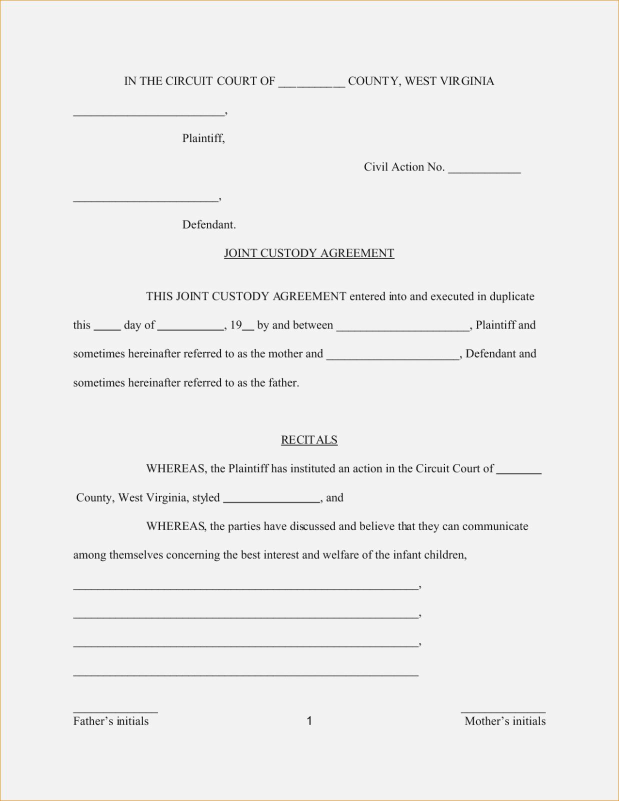 Child Support And Custody Agreement Forms