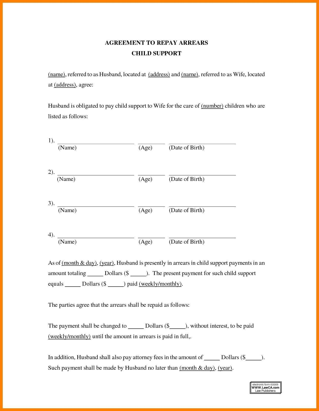 Child Support Visitation Agreement Template