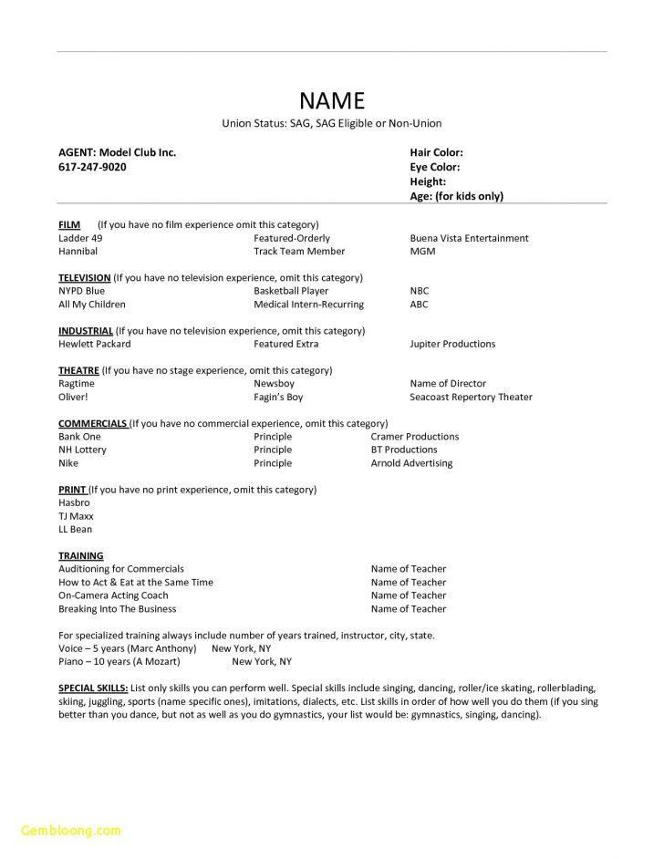 Child Theater Resume Template