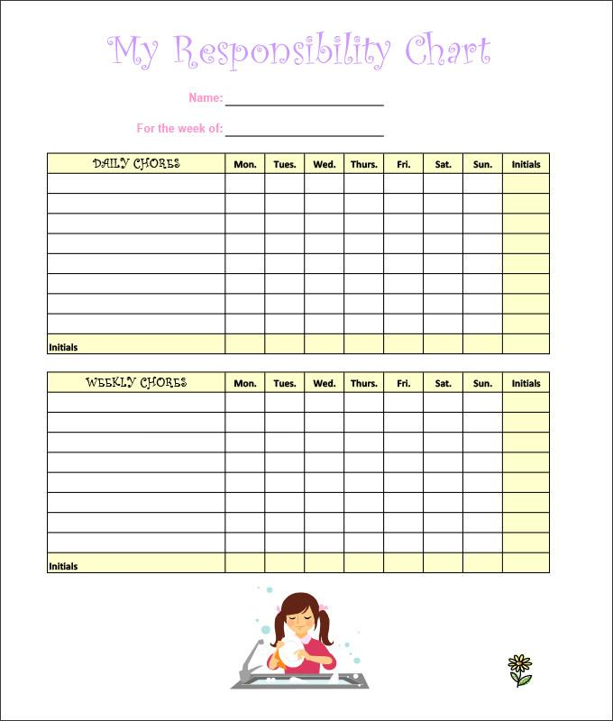 Children's Chore Chart Template