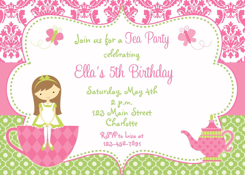 Children's Tea Party Invitation Template