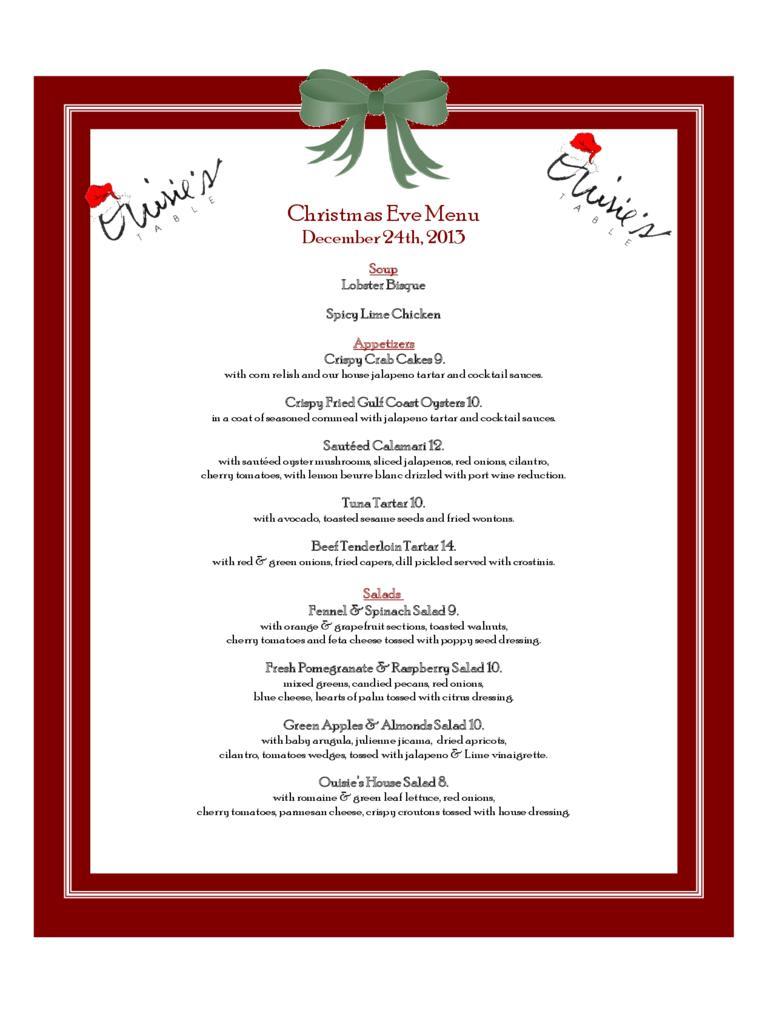 Christmas Dinner Party Menu Template Word