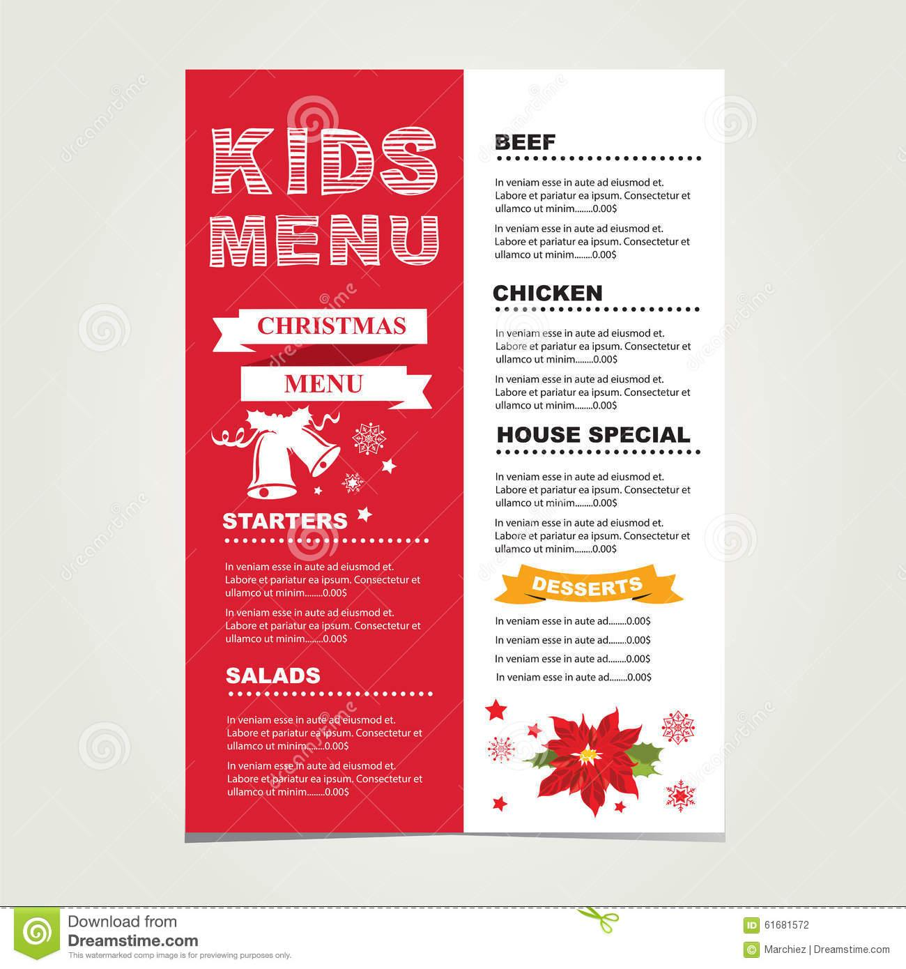 Christmas Party Menu Template