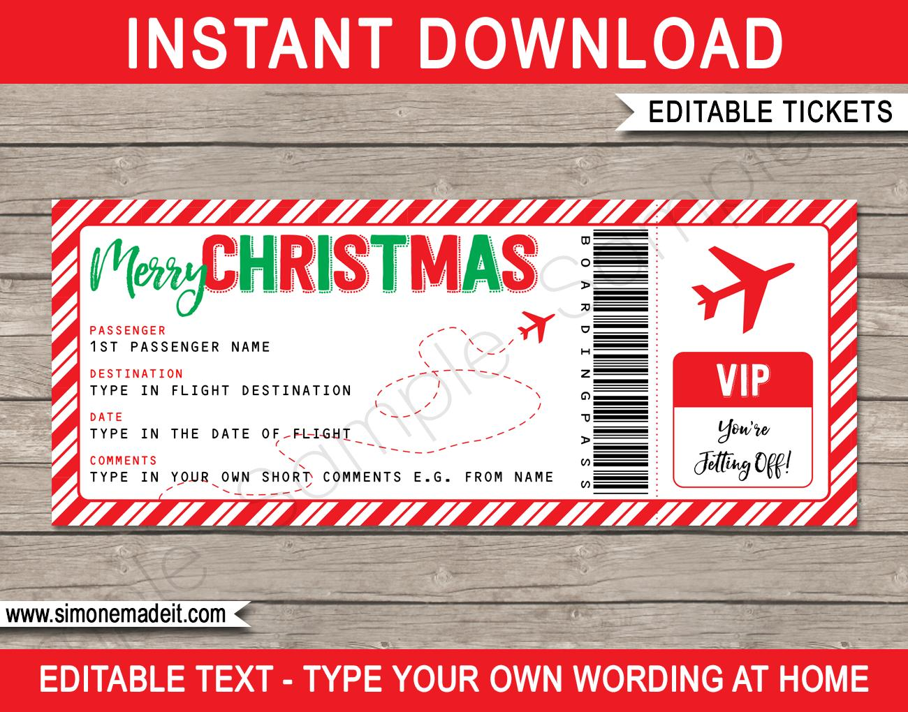 Christmas Ticket Printable
