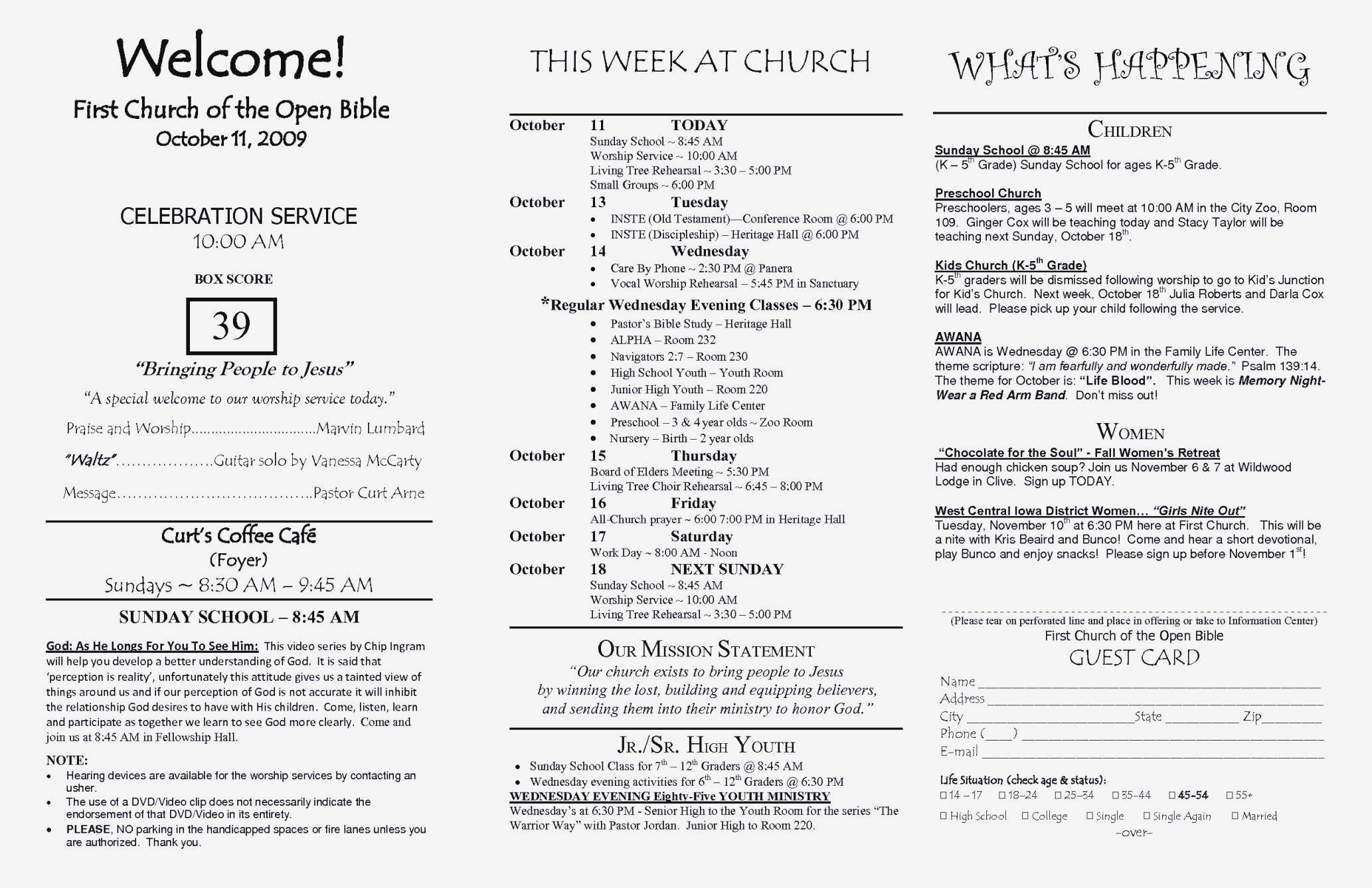Church Brochure Template Word