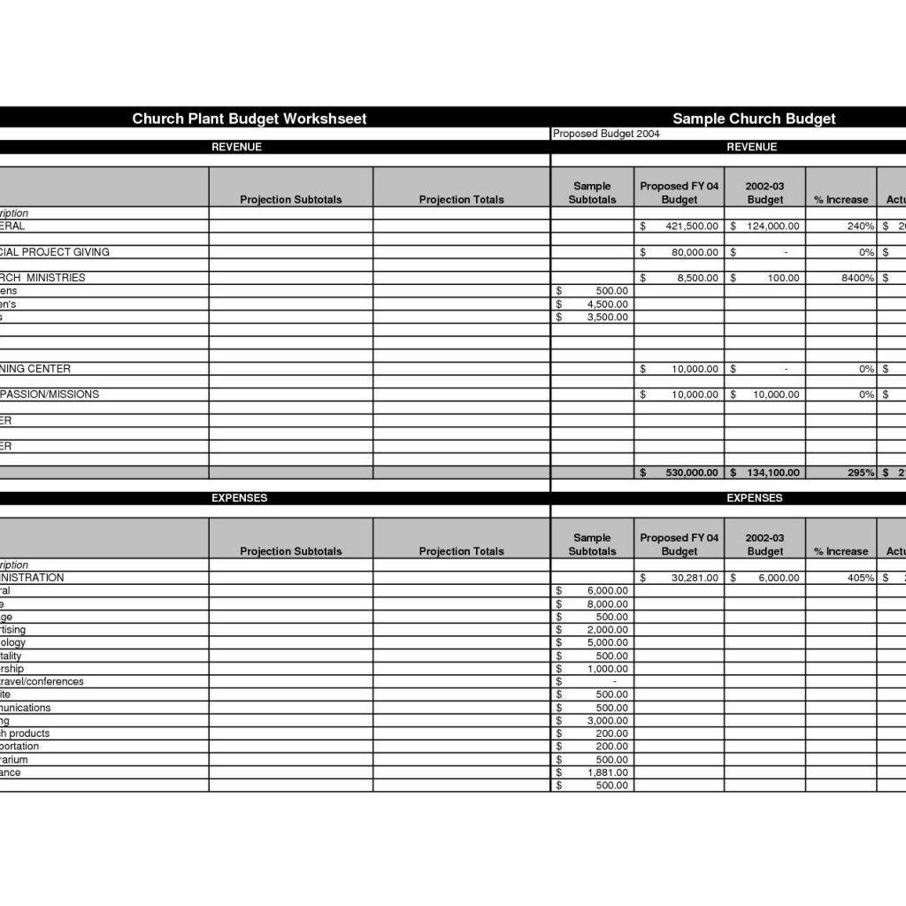 Church Budget Spreadsheet Excel Template
