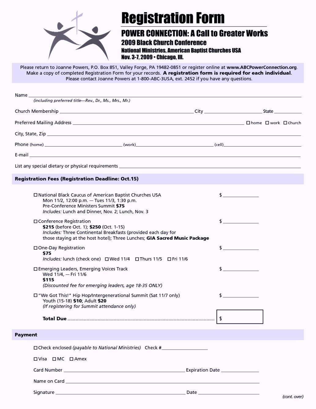 Church Conference Registration Form Template Word