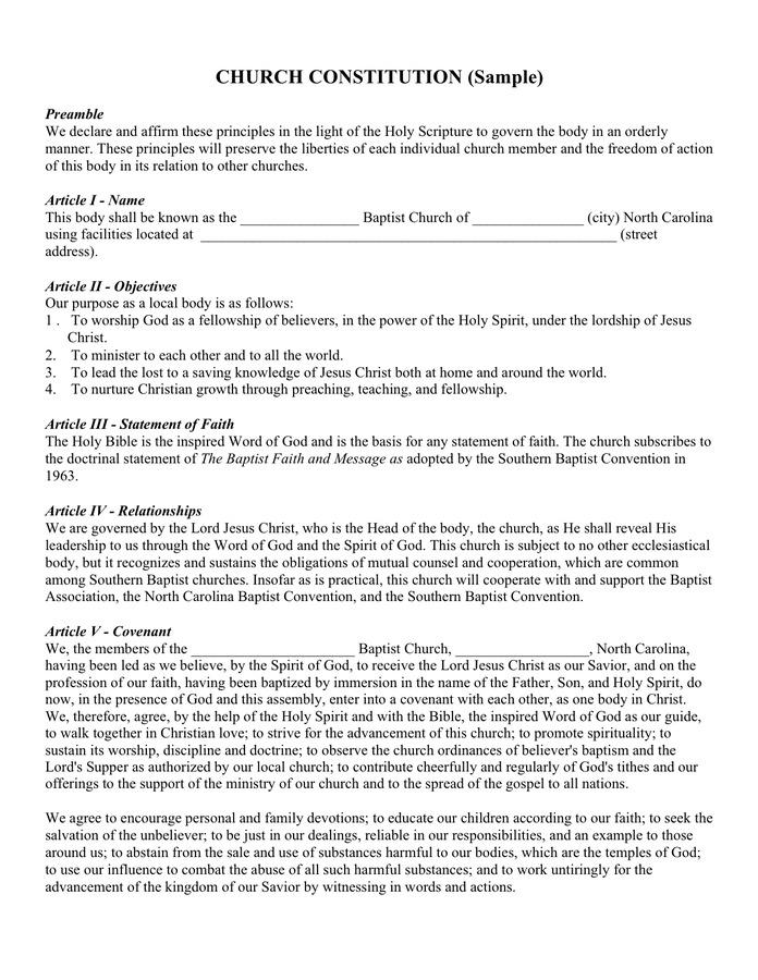 Church Constitution Template Doc